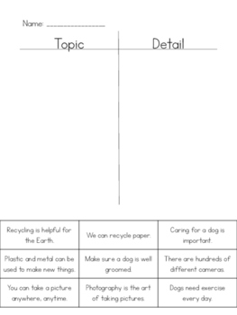 Topic & Detail (Main Idea) Sort Set