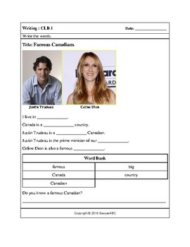 Topic: Famous Canadians - Reading and Writing Activities for LINC / ESL : CLB 1