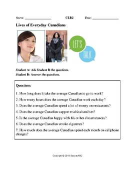 Topic: Lives of Everyday Canadians - Speaking Activity for LINC/ESL Class: CLB 2