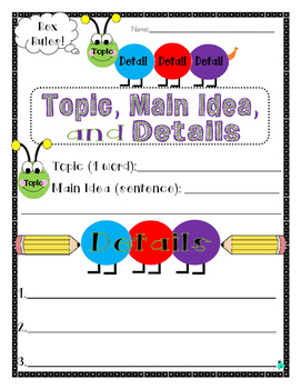 Topic, Main Idea, and Details- Reading Comprehension