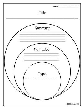 Topic, Main Idea, and Summary Organizer FREEBIE!