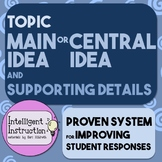 Topic, Main Idea / Central Idea, Supporting Details: Improve Student Responses!