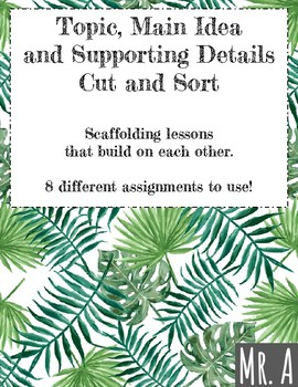 Topic/Main Idea and Supporting Details Cut and Sort