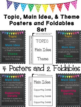 Topic, Main Idea, and Theme Chalk Posters & Foldables