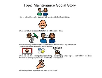 Topic Maintenance Social Story