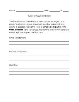 Topic Sentence Practice