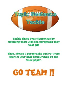Topic Sentence Tackle