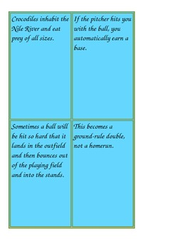 Topic Sentence and Supporting Details Review Activity
