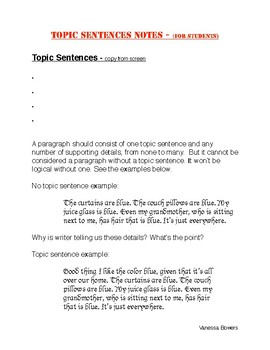 Topic Sentence - notes packet