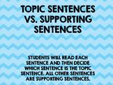 Topic Sentence vs. Supporting Sentence