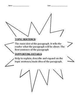 Topic Sentence/Main idea and details Winter Packet