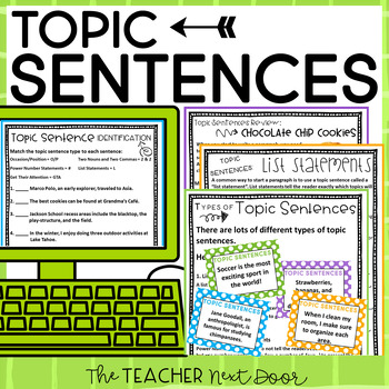 Topic Sentences Packet: Paragraph Writing for 3rd - 6th Grade