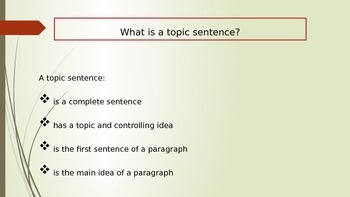 Topic Sentences PowerPoint