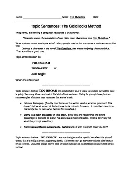 Topic Sentences:  The Outsiders