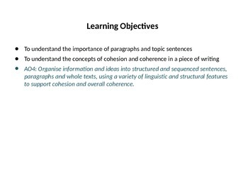 Topic Sentences and Cohesion