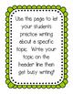 Topic Writing in Kindergarten Freebie