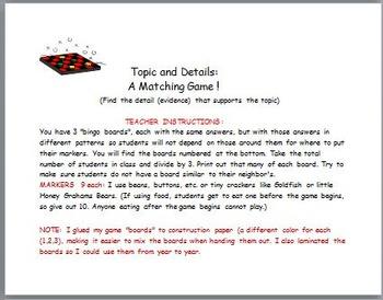 Topics and Details: A Matching Game !