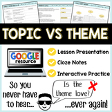 Topic versus Theme: Lesson, Notes, and Interactive Activit