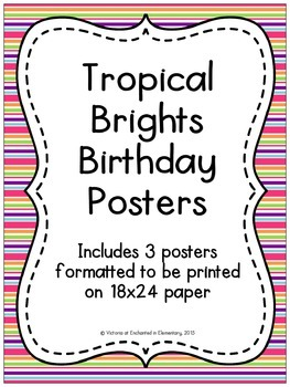 Tropical Brights Birthday Posters