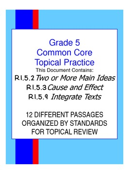 Topical Common Core Practice:  Grade 5  Bundle 1