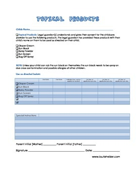 Topical Products Permission Form