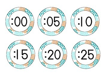Tropical Teal Blossoms Clock Numbers
