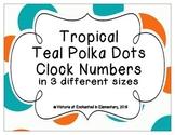 Tropical Teal Polka Dots Clock Numbers
