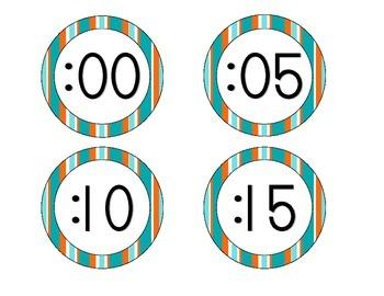 Tropical Teal Stripes Clock Numbers