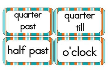 Tropical Teal Stripes Clock Numbers