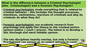 Topics Psychology 7 An Intro To Forensic Psychology And Offender Profiling