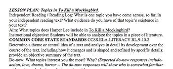 Topics in To Kill A Mockingbird LESSON PLAN, ACTIVITY & HANDOUTS Common Core