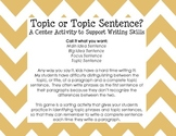 Topics vs. Topic Sentences