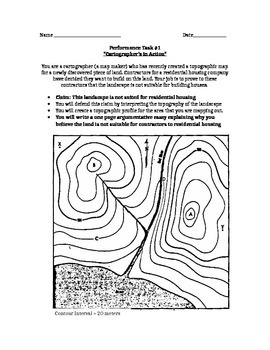 Topo Map/Profile Performance Task: Claim, Citing Evidence, Drawing Conclusions