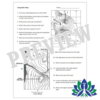 Topographic & Contour Map Practice Worksheet Homework