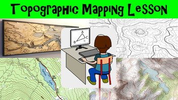 Topographic Mapping Lesson with Worksheet, Power Point, an
