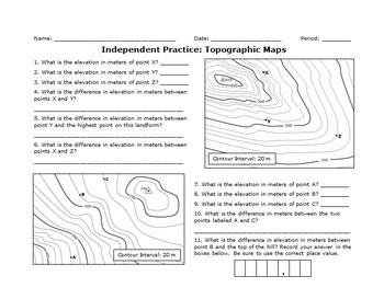 Map Reading Activity: Topography Printout #2 - EnchantedLearning.com