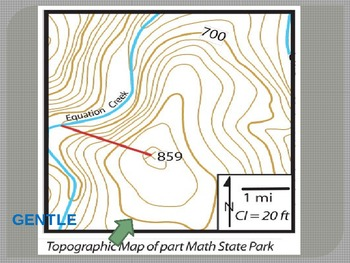 Topographic Map Of A Mountain.Topographic Maps Reading Contour Lines To Determine Slope Of A Mountain