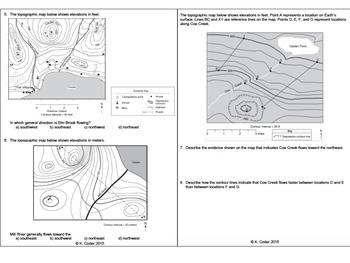 Topographic Maps Worksheets *EDITABLE BUNDLE*