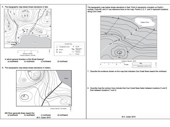 Topographic Maps Worksheets *EDITABLE BUNDLE* | TpT