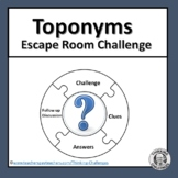 Toponyms Word Work Escape Room