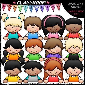 Topper Kids Clip Art - Topper Girls & Boys Clip Art & B&W Set