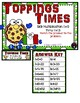 Toppings Times Multiplication 11 Facts Third Grade Math File Folder Game