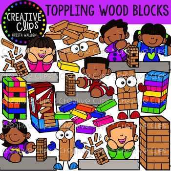 Toppling Wood Blocks: Game Clipart {Creative Clips Clipart}