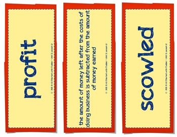 Tops & Bottoms Vocabulary Cards, Unit 3, Lesson 12, Journeys 3rd Grade