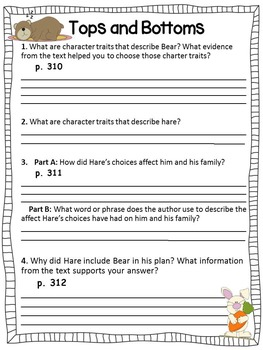 Tops and Bottoms Close Reading Packet