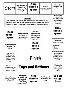 """""""Tops and Bottoms"""" Comprehension Game Board- Journeys story 3rd grade"""
