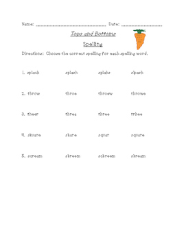 Tops and Bottoms Differentiated Spelling (Scott Foresman Reading Street)