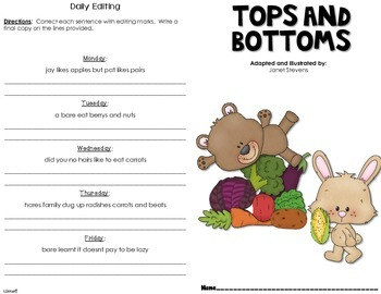 Tops and Bottoms Journal Booklet 3rd Grade Journeys