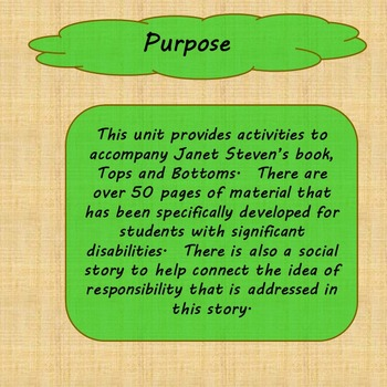 Tops and Bottoms Unit for Special Education
