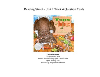 Tops and Bottoms Question Cards - Third Grade Reading Stre